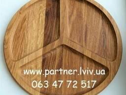 Деревянная тарелка, менажница. Ø 30 см. Дуб. - фото 3