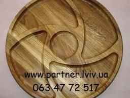 Деревянная тарелка, менажница. Ø 38 см. Дуб