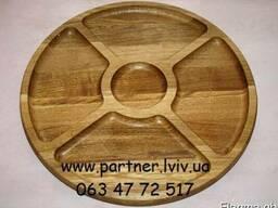 Деревянная тарелка, менажница. Ø 38 см. Дуб - фото 2