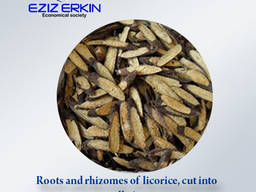 Roots and rhizomes of licorice, cut into small pieces.