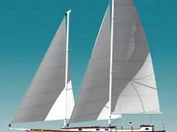 Sailing-motor shooner 45 ft with aluminum hull.